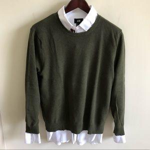 J Crew Olive Pique Sweater - L